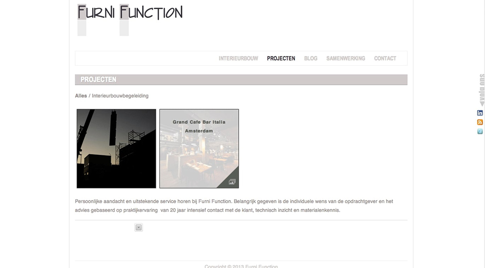Website FurniFunction Interieurbouw en projectbegeleiding