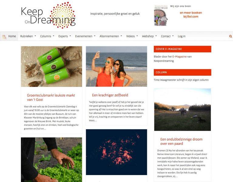 Website idee Maarten de Vries logo Keepondreaming Rick Otterloo uitvoering WebFantasia